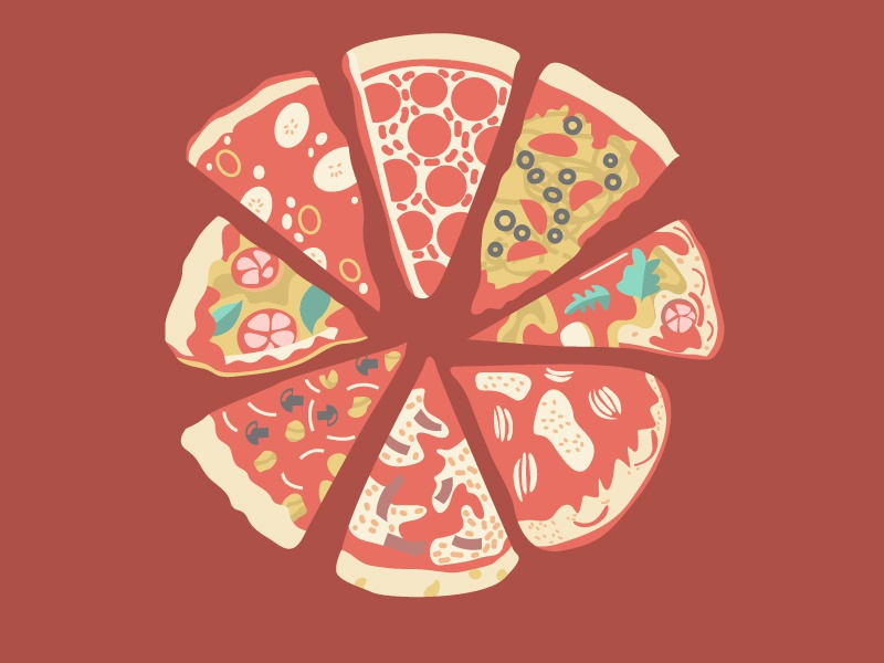 Global Pizza Pie vector flat illustration food cheese pizza pie chart red eat illustrator