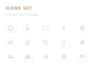 Icons Set icongraphy icons pack icons design icons set uiicons icon advantages hotel webdesign userinterface uidesign ui uiux adobexd icons