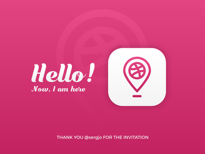 Hello! Now, I am here here nice elegant simple app dribble hello logo first icon debut