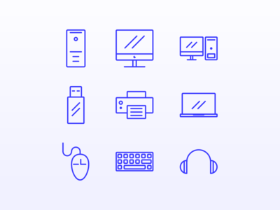 Computer icons simple logo illustration design blue computer line art icon
