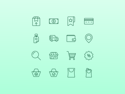 E-Commerce Icon Set line icon line art icon a day website icon shop online shop brown ecommerce icon