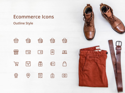 ecommerce icons outline style simple brown outline online store icon online shopping online shop ecommerce