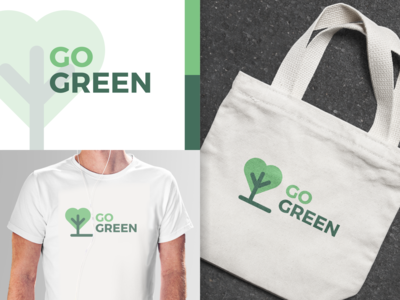 Go Green simple tree logo tree save the world save the earth nature go green mockup inkscape logo
