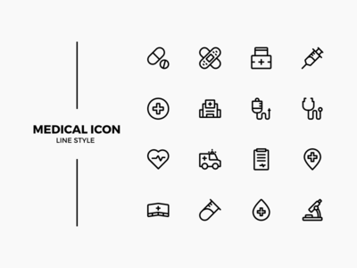 Medical icon line simple black hospital medical icon