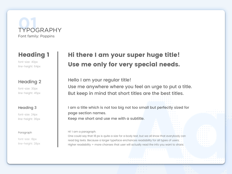 Typography style guide by Agata Ageieva on Dribbble