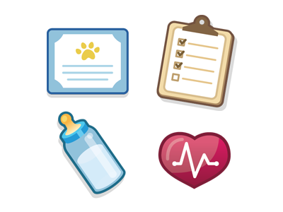 Miscalleny Icons bottle clipboard heart monitor certificate icon