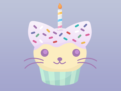 Cat Cupcake cat cupcake sprinkles candle birthday