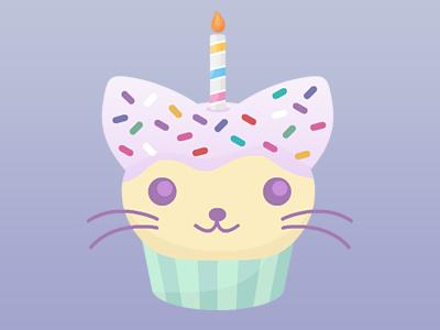 Cat Cupcake cat cupcake sprinkles candle birthday