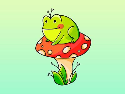 Frog on a Shroom cute procreate illustration frog