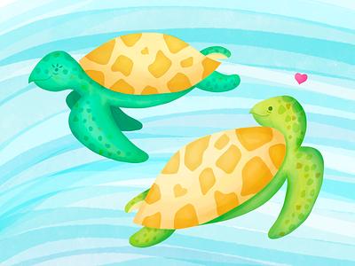 Turtles in Love illustration digital painting turtle