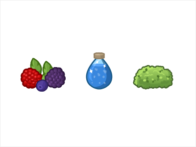 More icons wild berry water potion moss illustration icons