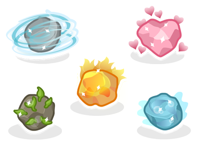 Elemental Motes elements motes fire wind water earth heart icons