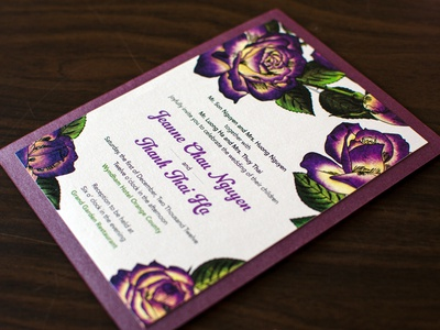 Rebound - Invites finished wedding invitation flowers rose painted print