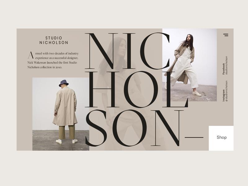 Website Concept ui navigation e-commerce neutral tan beige men women shop carousel typography serif clothing fashion social home homepage