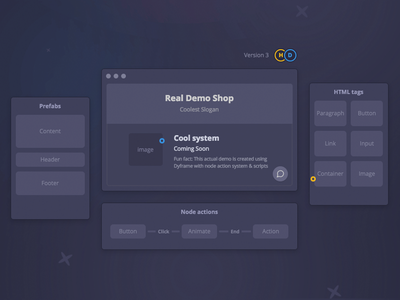 Landing page for Dyframe action nodes animation queue build page dyframe