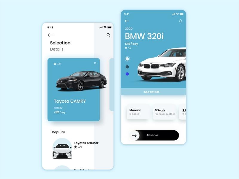 Car rental concept vector wireframes flow concept design ux ui ios mobile app car sketch