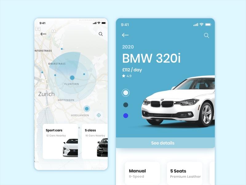 Car rental concept vehicle ux ui graphics dailyui clear design clean car automotive app sketch