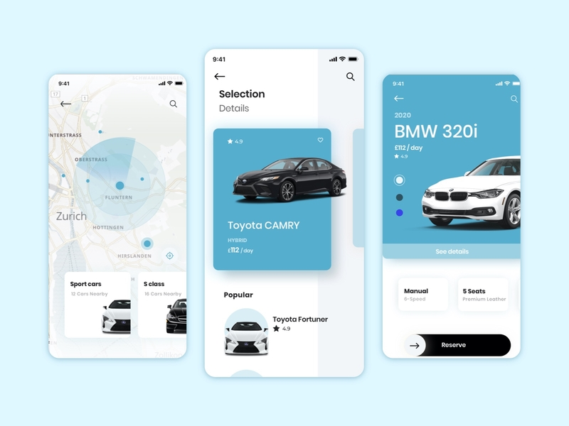 Car rental concept car app mobile ios ui ux design concept flow wireframes vector sketch