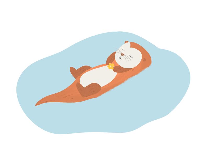 Little Otter raster animation design digitalart photoshop sleep swimming floating beaver river flower little animal wildlife art nature otters otter cute