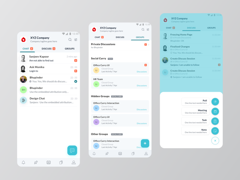 Office Collaboration App UI discussion chat minimal ui ux layout ui application app