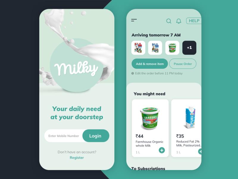 Milky - Ordering milk in daily basis [ Concept design ] organic health green fresh layout visual design app