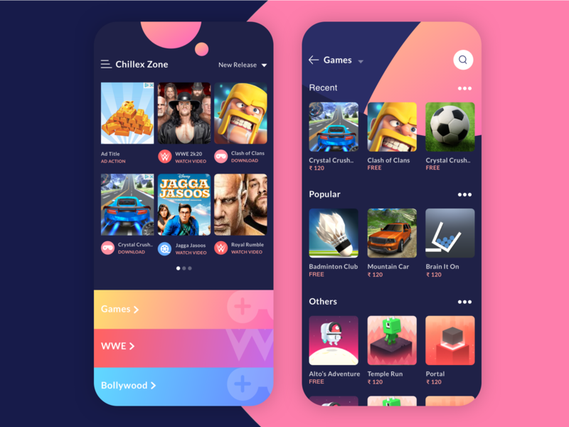 Chillex Zone - App UI for play games layoutdesign shapes colorful visual design games playful ui game design game