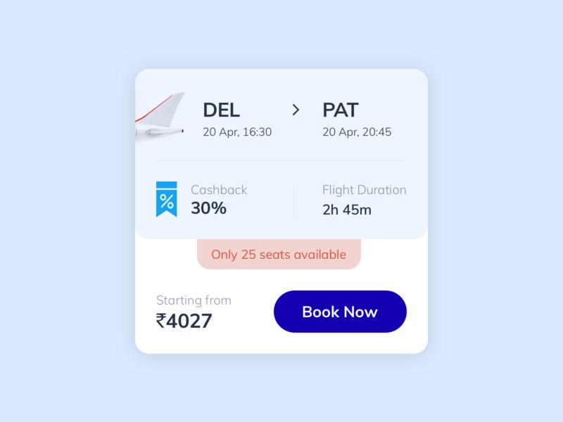 #1 - Daily UI [ Minimal Card design - Book Flights ] dailyui design inspiration flight app fresh flight booking ui design ui ux minimal layout visual design card flights book app