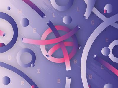 Hello, Dribbble! dribbble logo vector illustrator abstract dribbble hello
