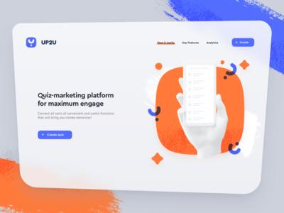 UP2U Landing page web startup gray blue orange main concept ui page landing