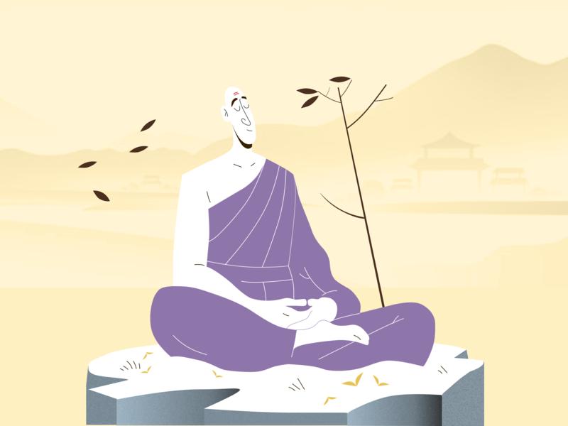 Inner Peace silence peace rebound graphic  design buddha monk illustrator design bangalore adobe illustrator vector illustration