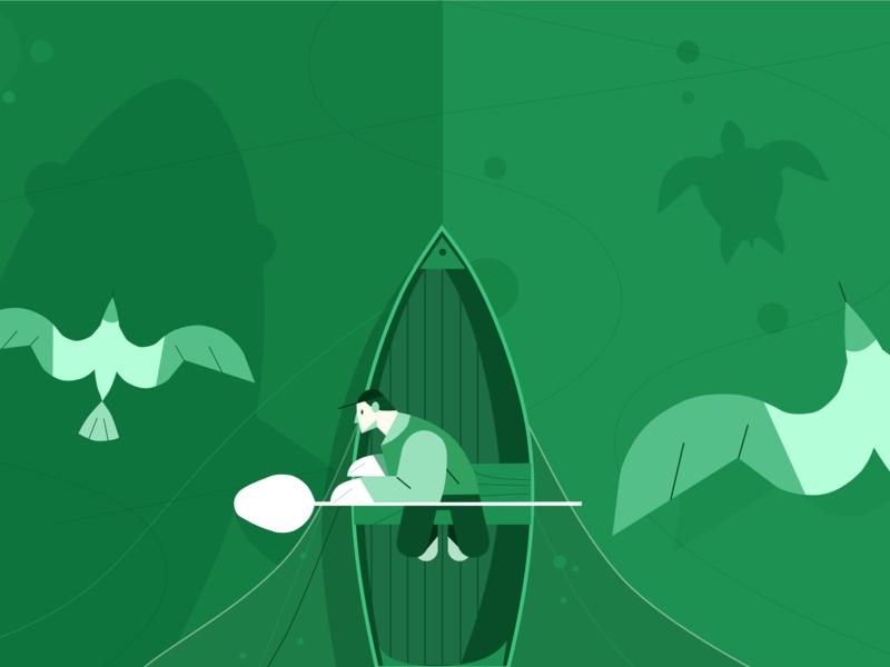 Calm Sea sea life boat birds whales fisherman fishing sea bangalore adobe illustrator vector art illustration design sketchapp
