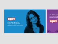 Tina Fey promo tile for npm