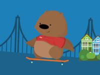 Wombat Skating in SF