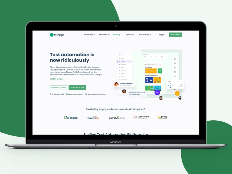 Product Landing Page Design website concept website web automation testing services product materialdesign websitedesign webui ui ladning page