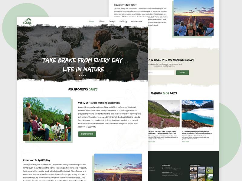 Nature Camping Website landing camping website travel website camping travel homepagedesign homepage landingpage website