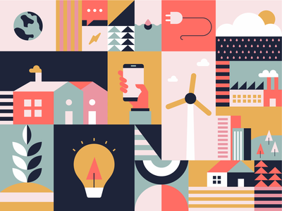 Home Energy Illustration savings report efficiency vector concept mural collage phone earth trees plants light wind turbine neighborhood houses house utility energy illustration