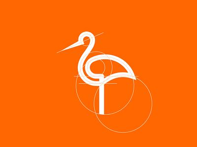 Stork grid app branding mark industrial abstract vector minimal logo crypto design icon ratio technology tech geometric minimalist animal grid construction grid stork