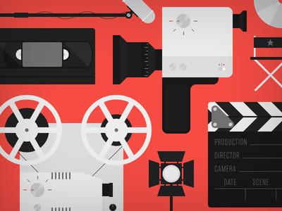 Filmmaking cameo video icon illustration boom mic vhs cassette projector camera spotlight clapboard directors chair dvd