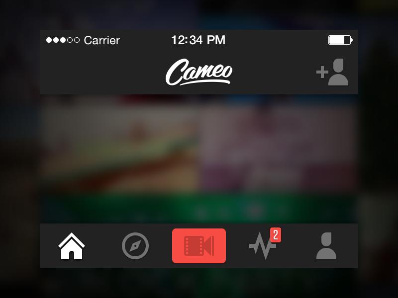 Navigation footer header logo icon bar tab navigation video cameo