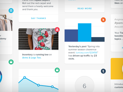 Insights tiles cards icons stats dashboard inventory