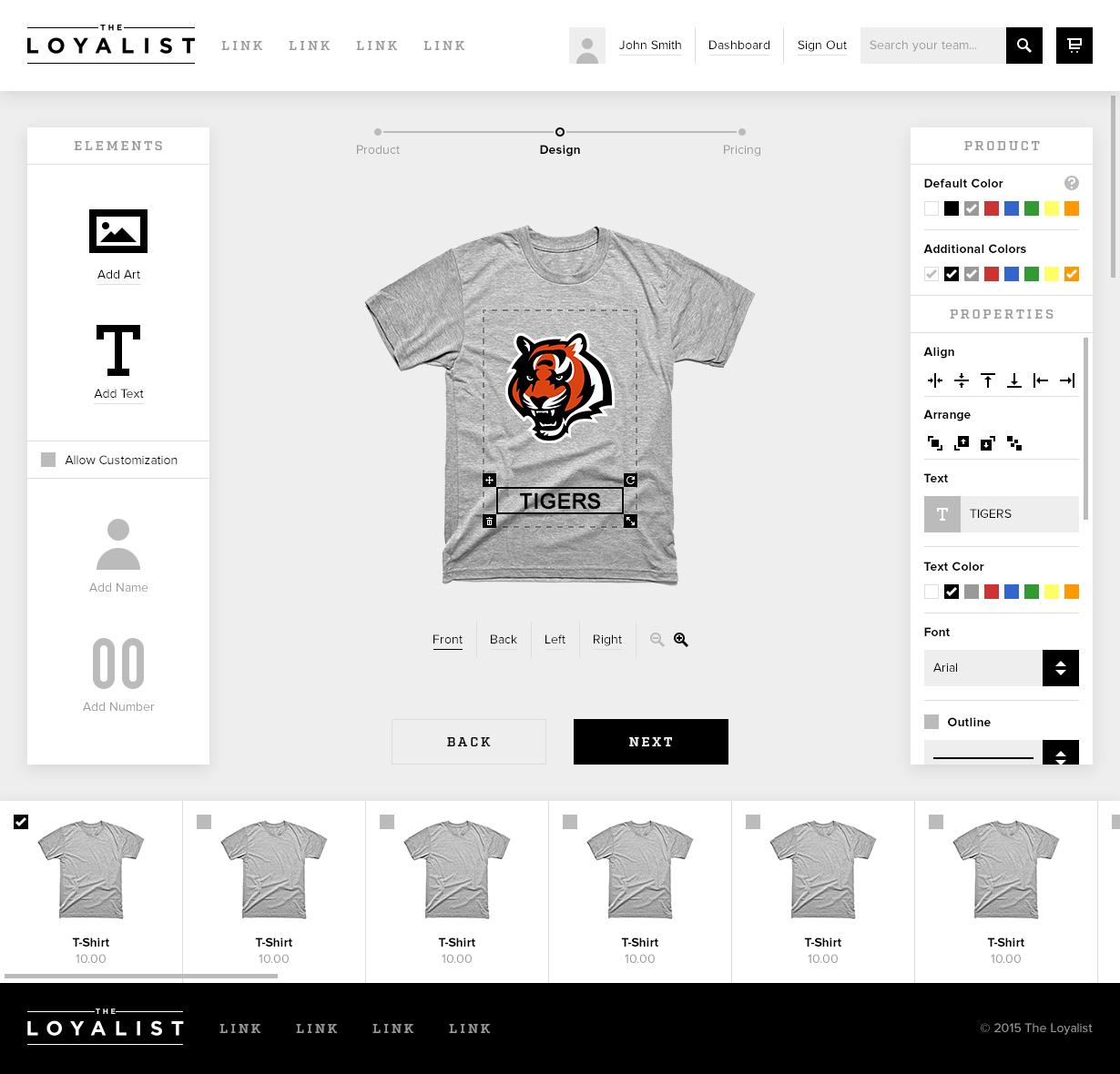 The loyalist add product flow design ui