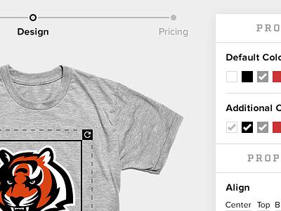 Design steps colors editor apparel t-shirt