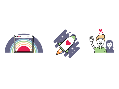 Illustrations supporters love people space stars rocket mission launch website rainbow browser