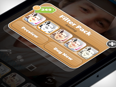 Filter Pack iphone ios app mobile pop-up price tag coin icon wood