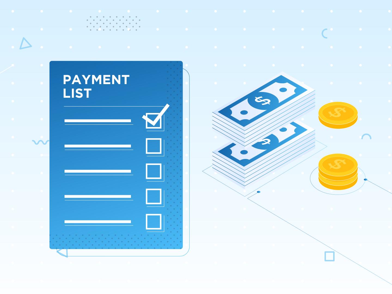 Payment List & Bills blue coins money bills cash payment