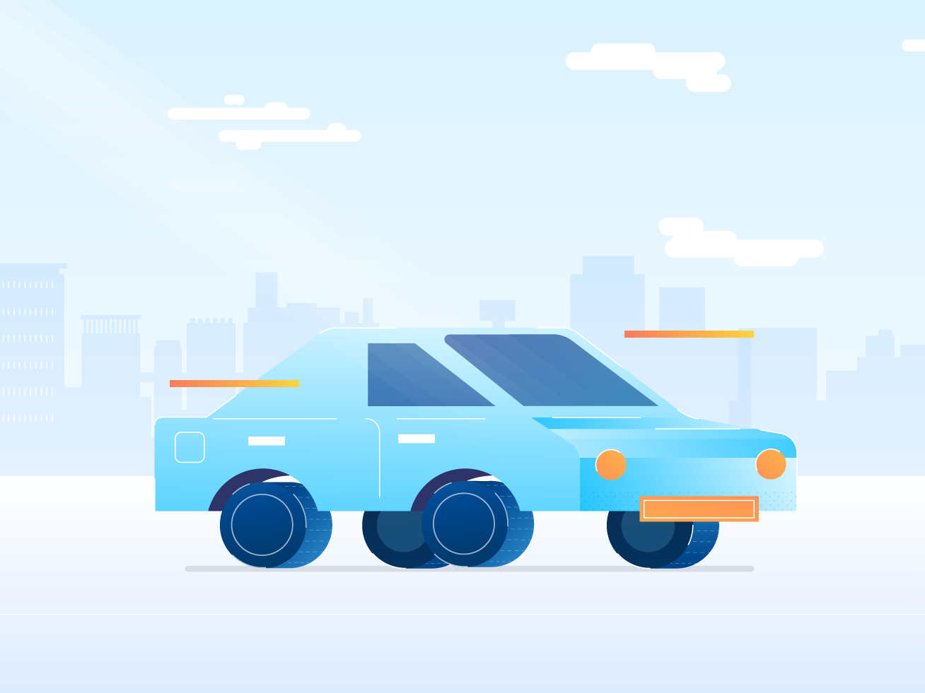 Blue Car minimalist cute city digital illustration car