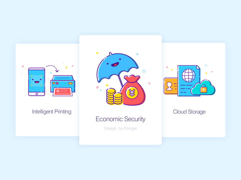 Intro Pages money intelligent print cloud economy design introduction icon app ui guide pages
