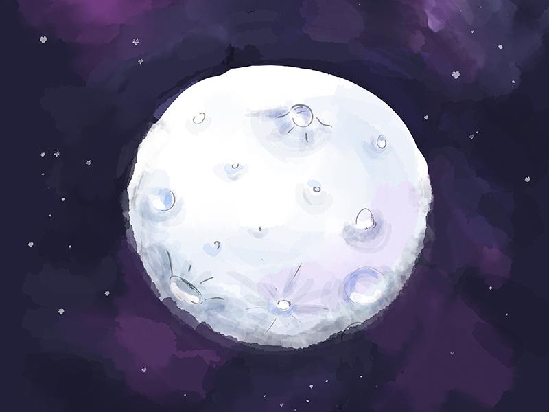 Watercolor Moon planet object cartoon space illustration galaxy moon watercolor