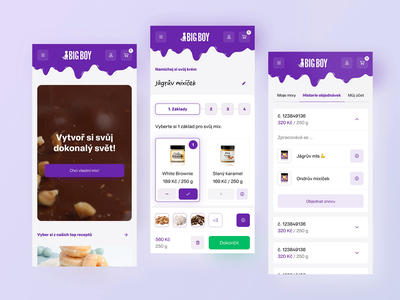 Big Boy app – Mix your own butter recipe user chocolate sweet butter branding clean simple ux landing page ecommerce listing purple app mobile interactive ui
