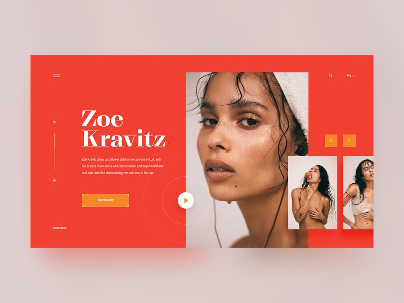 Photography landing page ~concept~ photgraphy art nudity actress singer concept orange colorful portait model fashion website ux webdesign landing page flat desktop simple clean ui